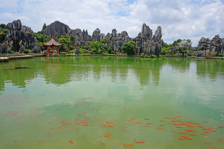 Pond at a park with rock formations Stock Photo