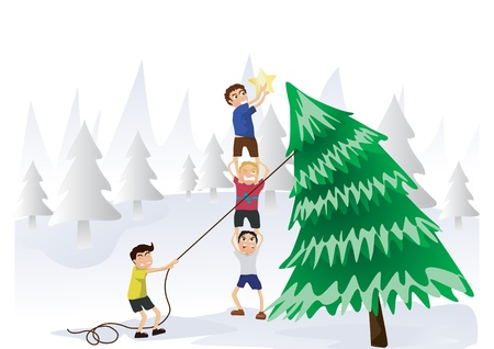 boys try to put the star on top of tree Stock Vector - 20761480