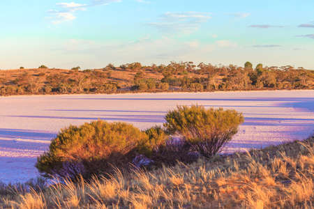 Photograph of Pink Lakes in Western Australia in the evening singing sun in the summer of 2015