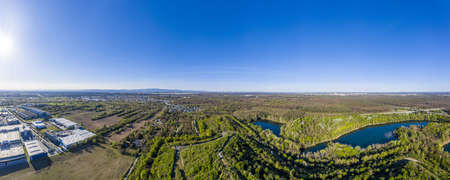 Panoramic aerial picture of local recreation area Oberwaldberg close to the city of Moerfelden-Walldorf