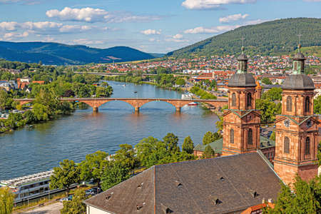 View over the medieval city of Miltenberg from Miltenberg castle during daytime in summer