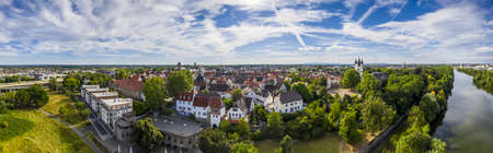 Aerial drone picture of the historical city of Steinheim near Hanau at river Main in Germany during daytime