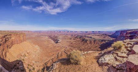 View on typical rock formations in Conyonlands National Park in Utah Stock Photo