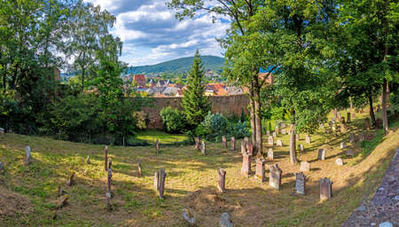 View on the old jewish cemetery and city wall of the medieval city of Miltenberg in Germany during daytime in summer