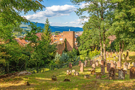 View on the old jewish cemetery and city wall of the medieval city of Miltenberg in Germany during daytime