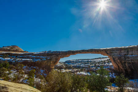 Panoramic picture of Owachomo bridge in the Natural Bridges Narional Park