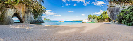 Panoramic picture of Cathedral Cove beach in summer without people