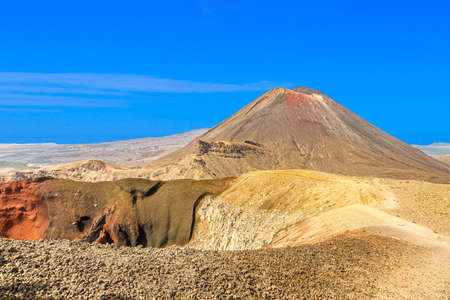 Panoramic picture of Mount Ngauruhoe in the Tongariro National Park on northern island of New Zealand