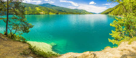 Panoramic view over lake Weissensee in Austria Stockfoto