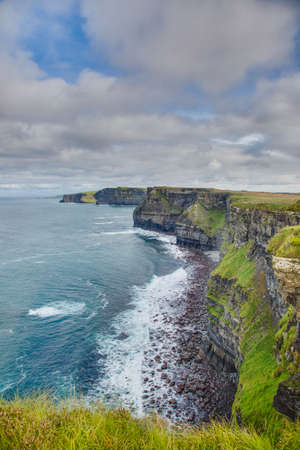 View over cliff line of the Cliffs of Moher in Ireland