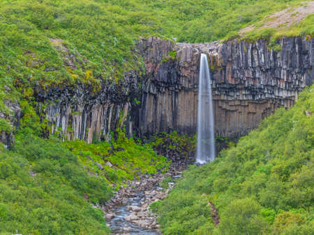 View on Svartifoss waterfall with impressive basalt stone formation on Iceland in summer