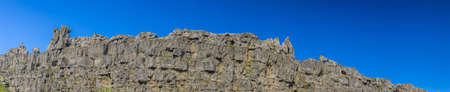Panoramic picture of cliffs in Thingvellir national park on Iceland Stock fotó