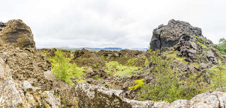 Picture of walks through the great lava field in the south of Hverfjall volcano 免版税图像