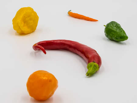 Close up image of peppers with different color