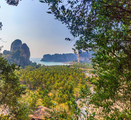 Photo taken from Railay Beach in Krabi from Railay View Point in a cloudless blue sky photographed during the day in Thailand in November 2013