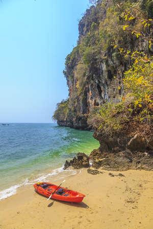 Kayak at a lonely beach in Krabi