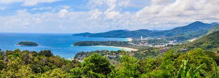 Panoramic view from Karon View Point on Kata Noi Beach, Kara Beach and Karon Beach on Phuket Island photographed during the day in Thailand in November 2013