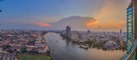 View to Bangkok and Chao Phraya river during sunset