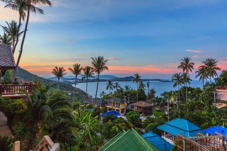 Photo of Chaweng Bay on Koh Samui with afterglow photographed in Thailand in November 2014