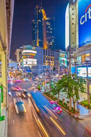 Footage of a street scene in Bangkok photographed in the evening with long exposure in October 2014