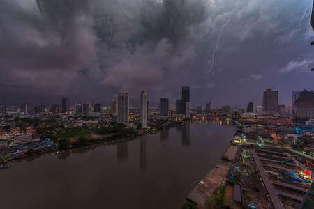 Aerial view of lightning strike in nightly Bangkok skyline Archivio Fotografico
