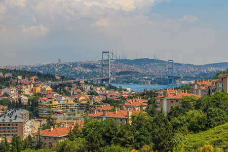 Photo of the Bosphorus Bridge in Istanbul photographed during the day from the European side in April 2014