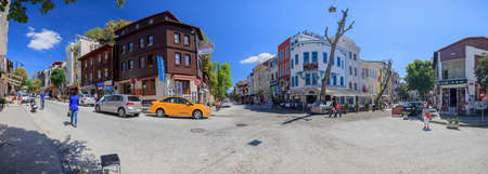 Panoramic footage of a street scene in Istanbul's Fatih district photographed during the day in a blue sky in May 2016