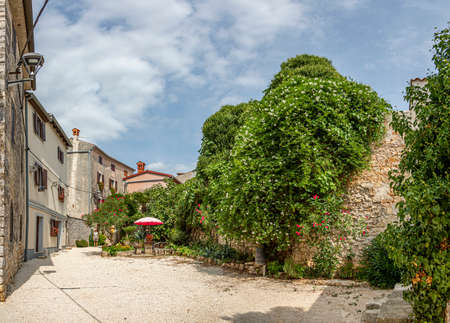 Typical street scene in the medieval town Bale in the Istrian peninsula at daytime in summer