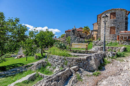 Street scene of the historic town Hum in Croatia during daytime