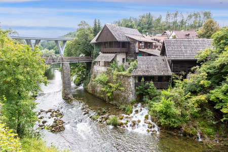 View over the fabulous and mystic town Rastoke in Croatia during daytime in summer