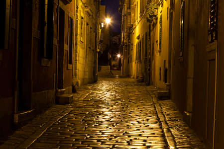 Scene of a cobblestoned street in the historic center of Rovinj in Croatia during night in summer