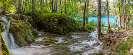 Picture of a waterfall in the Plitvice Lakes National park in Croatia with long exposure during daytime