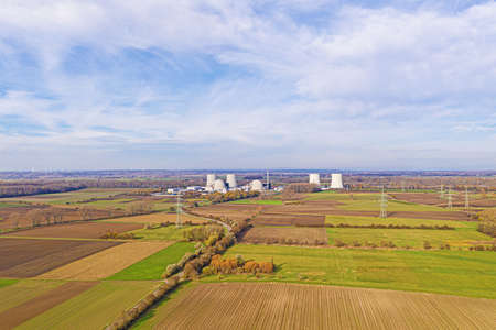 Aerial drone picture of the nuclear power plant Biblis in Germany during daytime