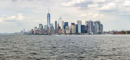 Panoramic view to Manhattan skyline from Staten Island ferry