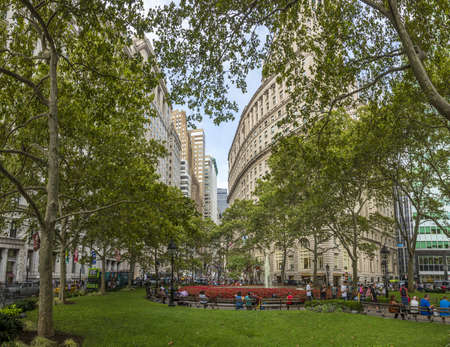 View from Manhattan Park to Wall Street in New York
