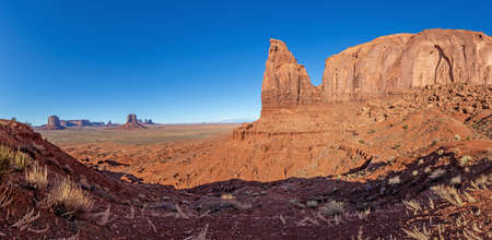 Majestic rock formations in the Monument National park in Utah during daytime in winter