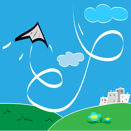 Paper airplane makes a loop over the city Vector