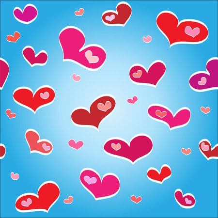 Flying hearts on a blue background Stock Vector - 6611894