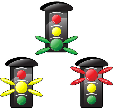 Traffic light with different colors Stock Vector - 6611895
