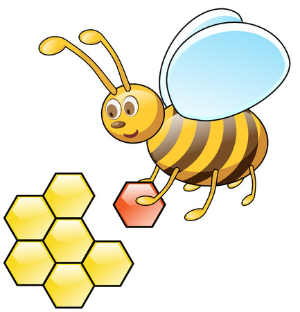 Sweet bee flies with honeycombs Vector