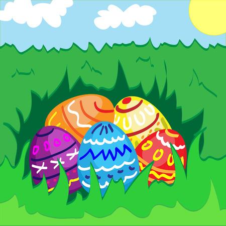lying in: Easter eggs lying in the grass Illustration