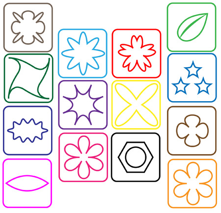 contoured: Contoured colored icons with flowers