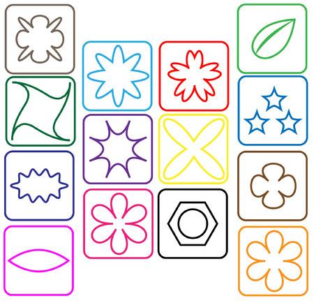 contoured: Iconos de colores contorneadas con flores