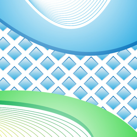 Light background with blue and green stripes and squares Stock Vector - 6867842