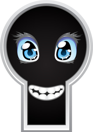 Beautiful little face looking out of the keyhole Vector