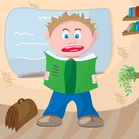 Frightened student with a notebook in hand near board Vector