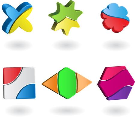 Ensemble des logos de la société en trois dimensions