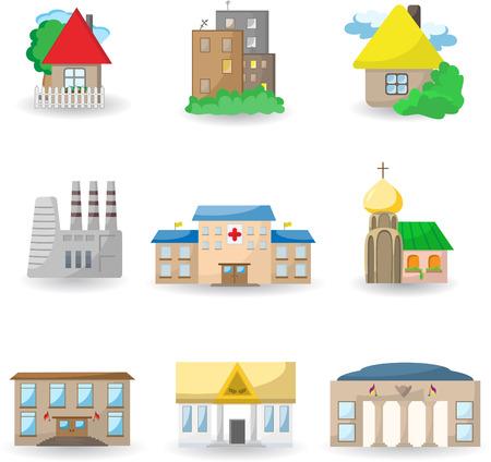 grande e piccolo: Icone di edifici architettonici urbani  Vettoriali