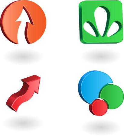 Set of three-dimensional company logos Stock Vector - 7041771