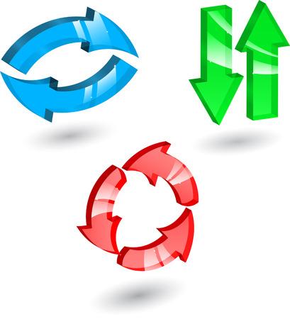 Set di colori diversi di vetro frecce e direzioni